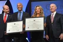NEW YORK, NY - OCTOBER 18: (L-R) Director of the U.S. Citizenship and Immigration Services Leon Rodriguez, former Yankee Mariano Rivera, singer Thalia, and Deputy Secretary of Homeland Security Alejandro Mayorkas speak onstage during the Naturalization Ceremony at Festival PEOPLE En Espanol 2015 presented by Verizon at Jacob Javitz Center on October 18, 2015 in New York City. (Photo by Brad Barket/Getty Images for PEOPLE En Espanol)