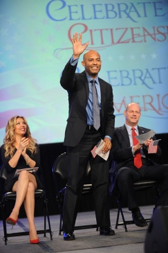 NEW YORK, NY - OCTOBER 18: (L-R) Singer Thalia, former Yankee Mariano Rivera, and Director of the U.S. Citizenship and Immigration Services Leon Rodriguez speak onstage during the Naturalization Ceremony at Festival PEOPLE En Espanol 2015 presented by Verizon at Jacob Javitz Center on October 18, 2015 in New York City. (Photo by Brad Barket/Getty Images for PEOPLE En Espanol)