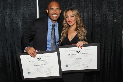 NEW YORK, NY - OCTOBER 18: Former Yankee player Mariano Rivera (L) and singer Thalia attend the Naturalization Ceremony during Festival PEOPLE En Espanol 2015 presented by Verizon at Jacob Javitz Center on October 18, 2015 in New York City. (Photo by Bennett Raglin/Getty Images for PEOPLE En Espanol)
