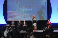 NEW YORK, NY - OCTOBER 18: (L-R) Former Yankee Mariano Rivera, Director of the U.S. Citizenship and Immigration Services Leon Rodriguez, Deputy Secretary of Homeland Security Alejandro Mayorkas, and singer Thalia speak onstage during the Naturalization Ceremony at Festival PEOPLE En Espanol 2015 presented by Verizon at Jacob Javitz Center on October 18, 2015 in New York City. (Photo by Brad Barket/Getty Images for PEOPLE En Espanol)
