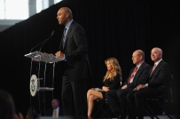 NEW YORK, NY - OCTOBER 18: (L-R) Former Yankee Mariano Rivera, singer Thalia, Director of the U.S. Citizenship and Immigration Services Leon Rodriguez, and Deputy Secretary of Homeland Security Alejandro Mayorkas speak onstage during the Naturalization Ceremony at Festival PEOPLE En Espanol 2015 presented by Verizon at Jacob Javitz Center on October 18, 2015 in New York City. (Photo by Brad Barket/Getty Images for PEOPLE En Espanol)