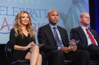 NEW YORK, NY - OCTOBER 18: Singer Thalia (L) and baseball pitcher Mariano Rivera (C) attend the 4th Annual People en Espanol Festival at Jacob Javitz Center on October 18, 2015 in New York City. (Photo by Mireya Acierto/FilmMagic)