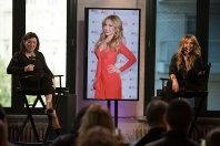 NEW YORK, NY - OCTOBER 20: Moderator Donna Freydkin and actress Thalia speak onstage at the AOL BUILD Presents: Thalia at AOL Studios In New York on October 20, 2015 in New York City. (Photo by Ryan Liu/WireImage)